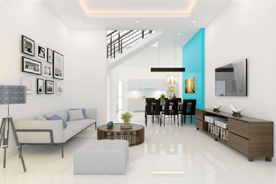 Mẫu thiết kế nội thất phòng khách cho nhà ống hiện đại sang trọng